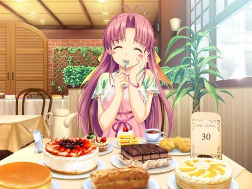 Аниме картинки девушки с тортом